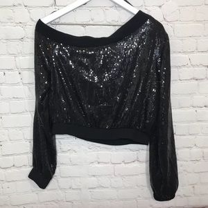 H:ours Tops - Revolve H:OURS Sequin Crop Top Ariana Black Blouse